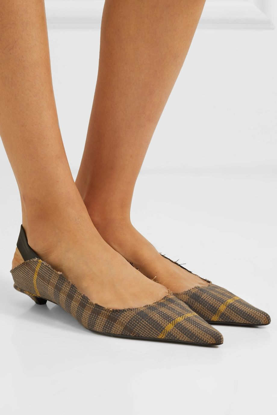 Proenza Schouler Frayed checked wool and linen-blend slingback pumps