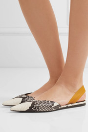 Snake-effect leather slingback flats