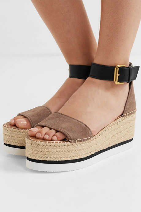 Suede and leather espadrille platform sandals