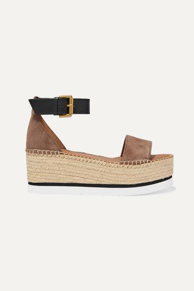 4cf04b15 Suede and leather espadrille platform sandals