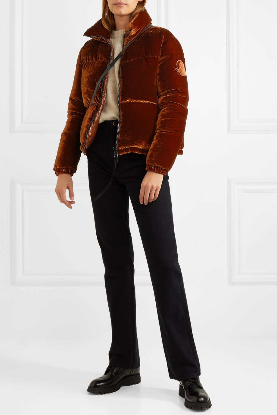 Moncler Quilted velvet down jacket