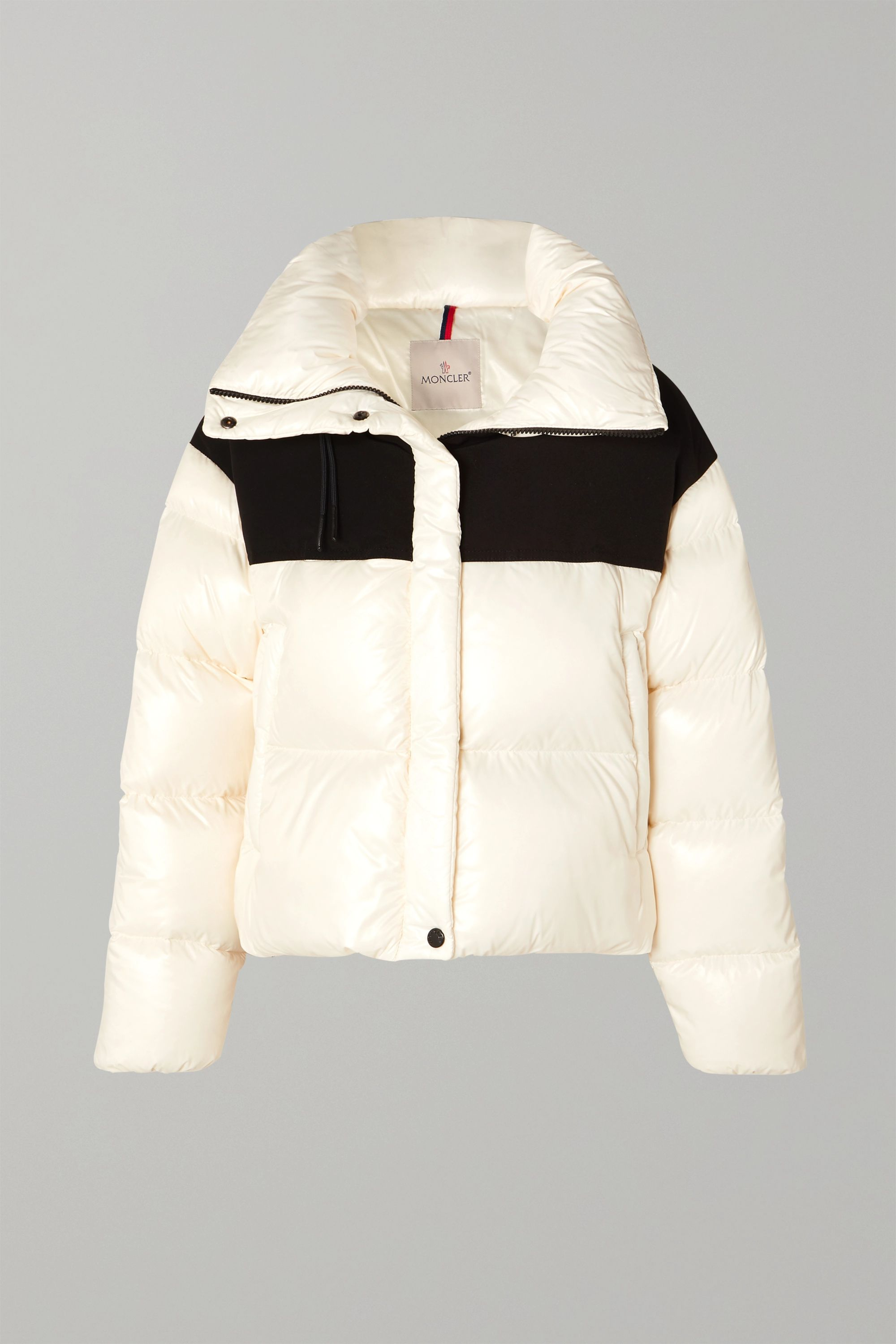 Hooded two-tone quilted shell and jersey down jacket