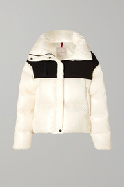 Moncler Hooded two-tone quilted shell and jersey down jacket