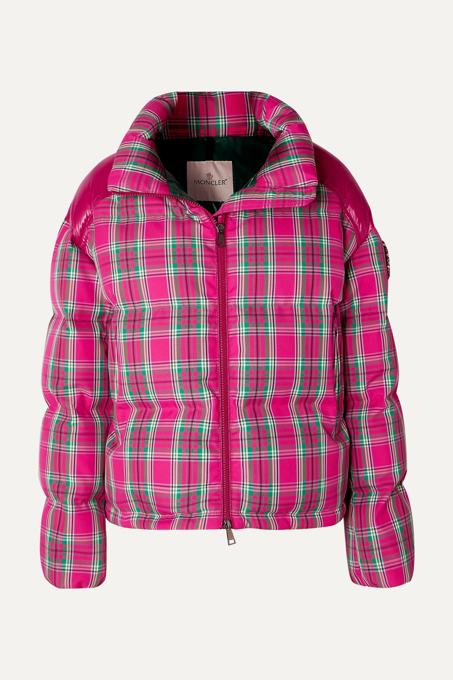 Moncler Crystal-embellished plaid twill and shell down jacket