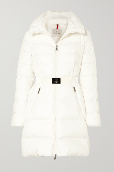 Accenteur Belted Quilted Down Puffer Coat In White