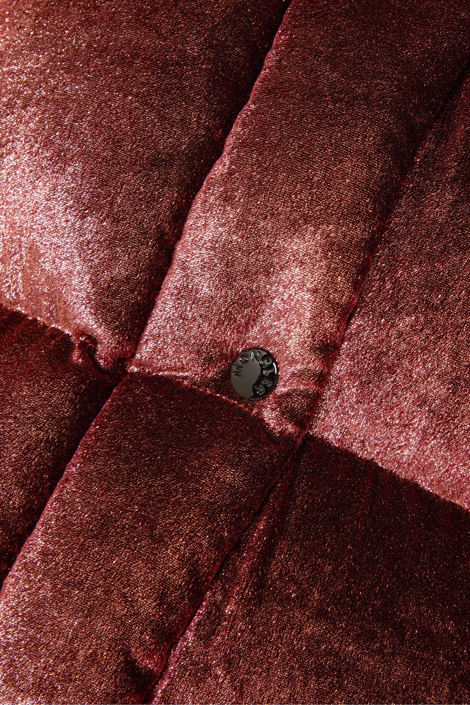 Moncler Hooded quilted metallic velvet down jacket