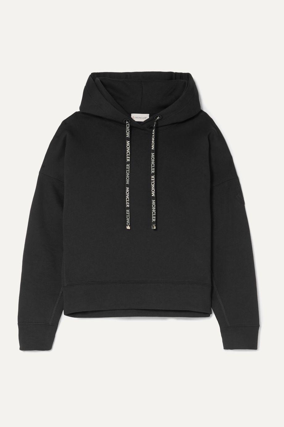 Moncler Appliquéd cotton-blend terry hoodie