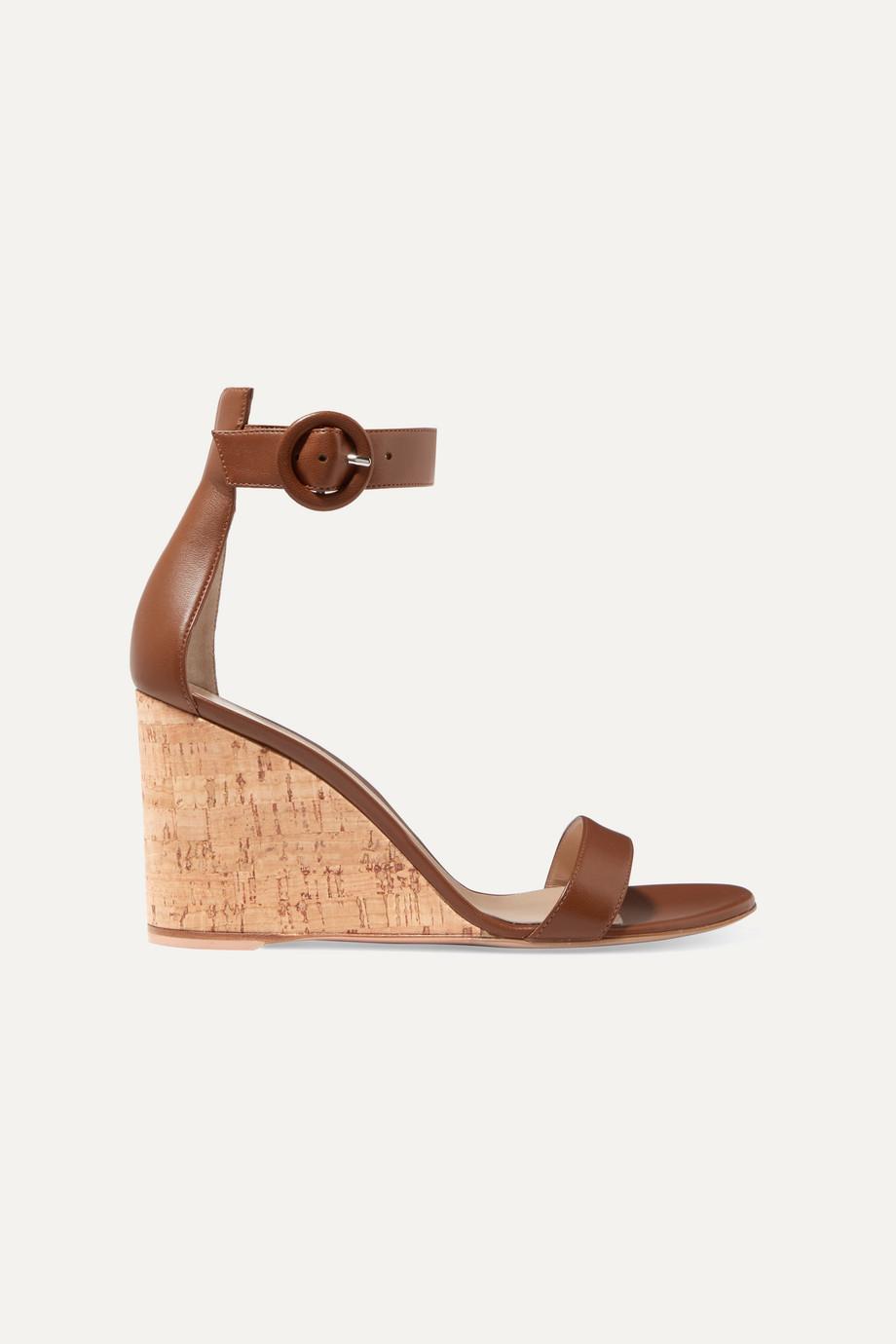 Gianvito Rossi Portofino 85 leather wedge sandals