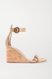 Portofino 85 metallic leather wedge sandals