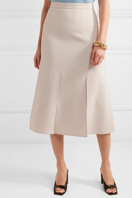 Wool-blend crepe skirt