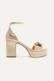 Salvatore Ferragamo Eclipse bow-embellished metallic leather platform sandals