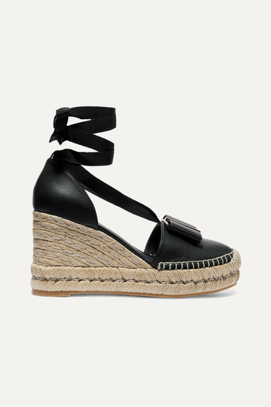 Salvatore Ferragamo Shoes Geranio bow-embellished textured-leather wedge espadrilles