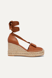 Salvatore Ferragamo Geranio bow-embellished leather wedge espadrilles