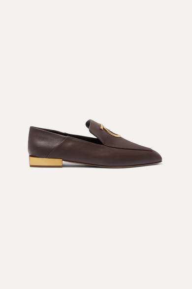 SALVATORE FERRAGAMO | Salvatore Ferragamo - Lana Embellished Leather Collapsible-Heel Loafers - Dark Brown | Goxip