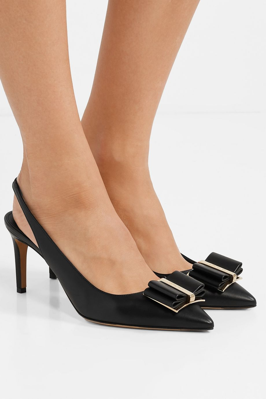 Salvatore Ferragamo Zahir bow-embellished textured-leather slingback pumps