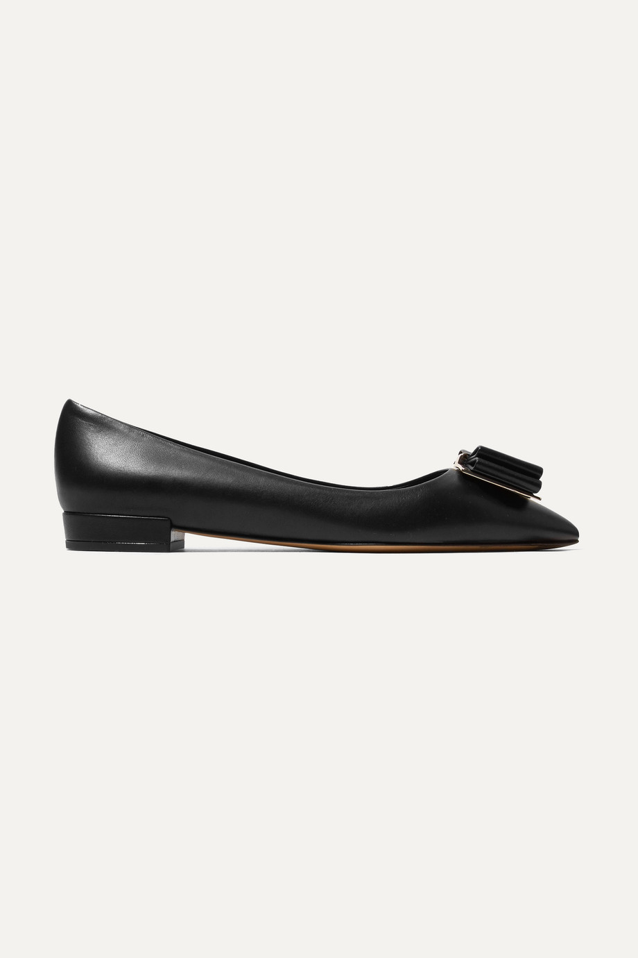 Salvatore Ferragamo Zeri bow-embellished leather point-toe flats