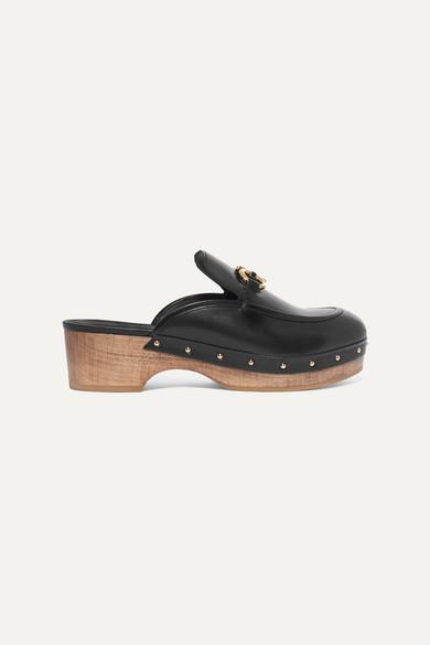 SALVATORE FERRAGAMO | Salvatore Ferragamo - Cleome Embellished Leather Mules - Black | Goxip