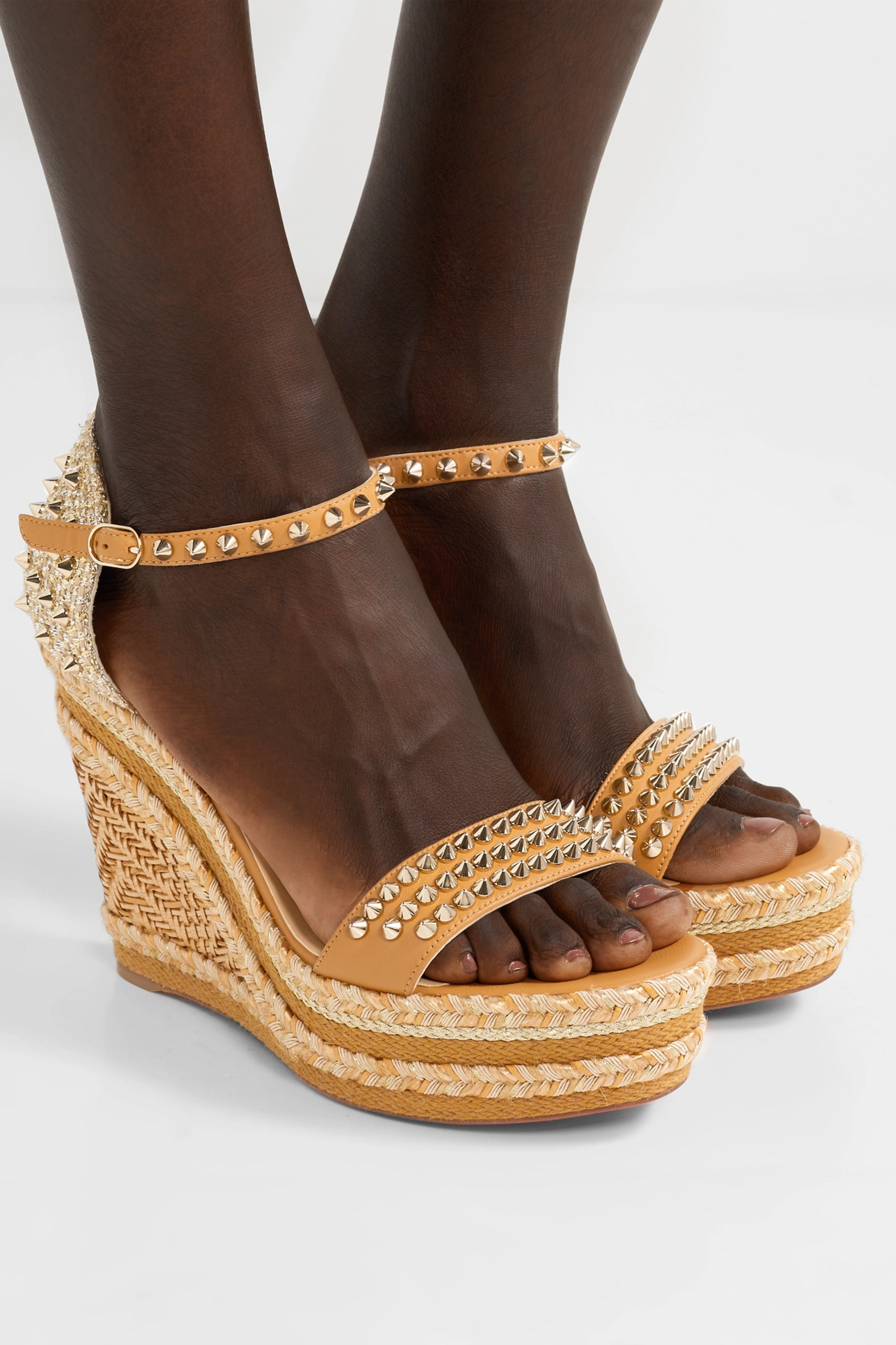 Christian Louboutin Madmonica 120 spiked raffia and leather espadrille wedge sandals