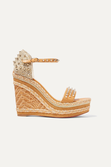 best sneakers 153ee 8c834 Madmonica 120 spiked raffia and leather espadrille wedge sandals