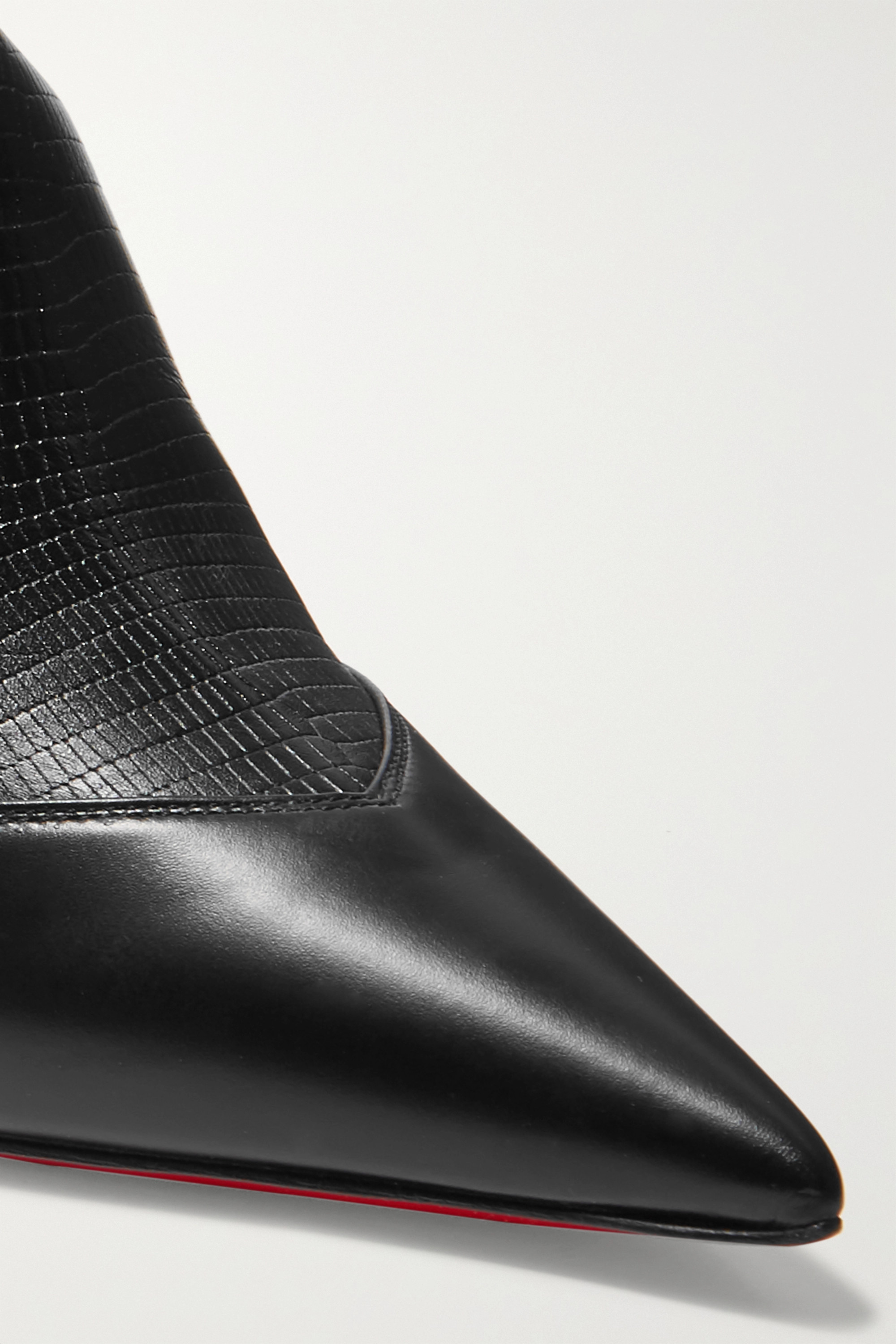 Black 80 Paneled Smooth And Lizard-effect Leather Ankle Boots   Christian Louboutin