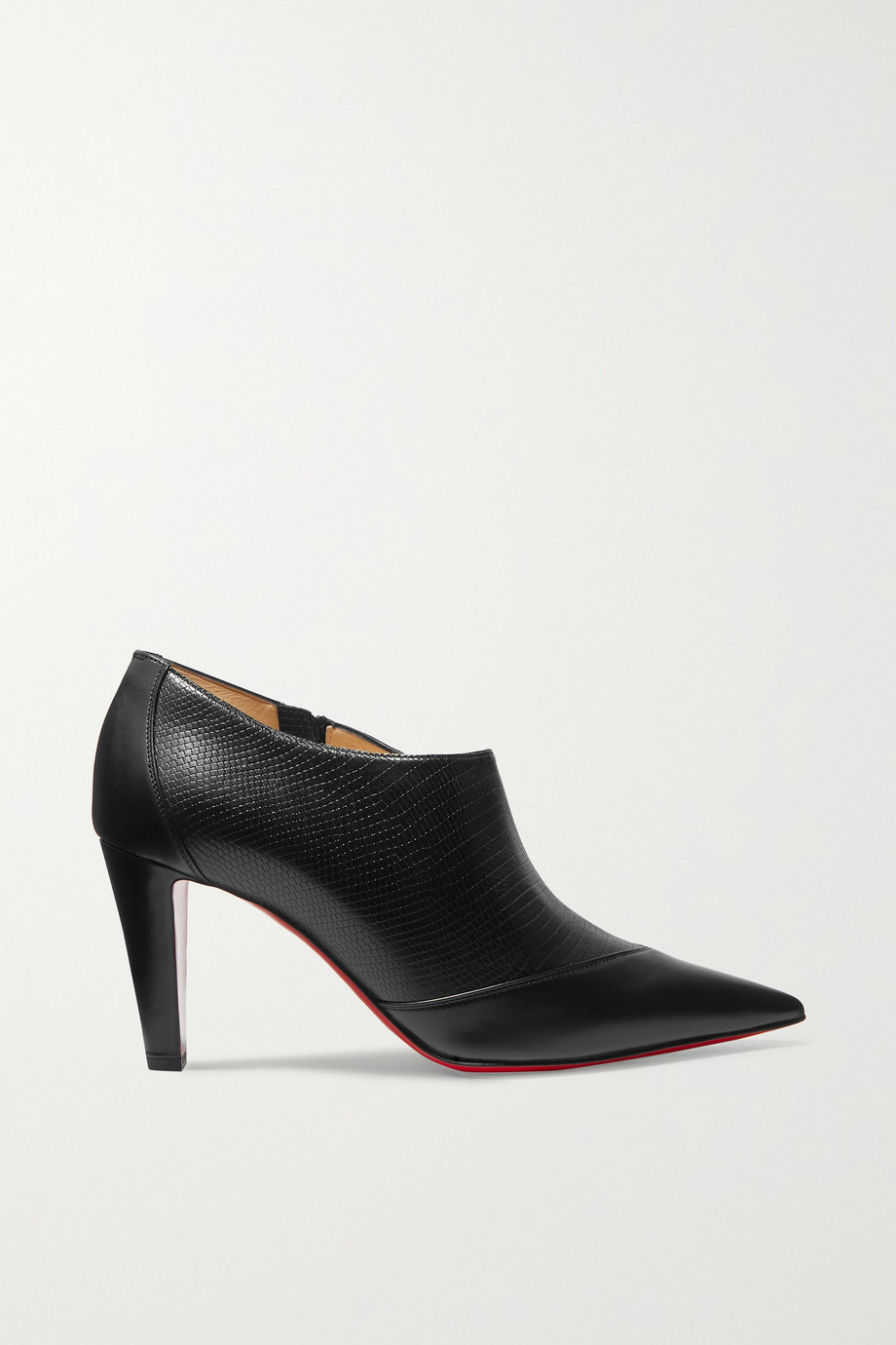 Christian Louboutin 80 Paneled smooth and lizard-effect leather ankle boots