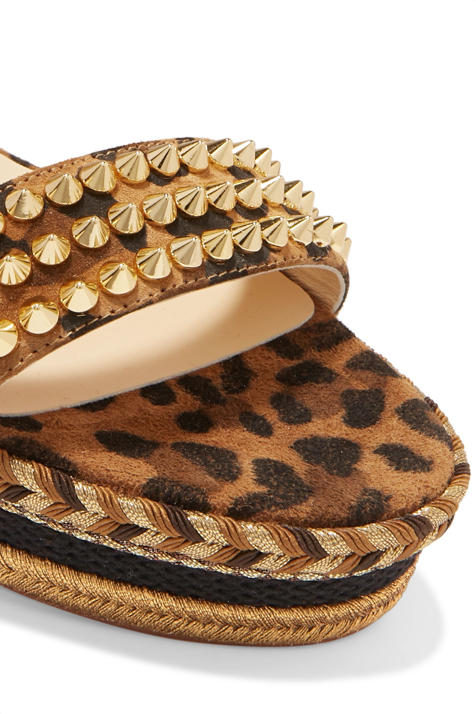Christian Louboutin Madmonica 60 spiked leopard-print suede espadrille wedge sandals