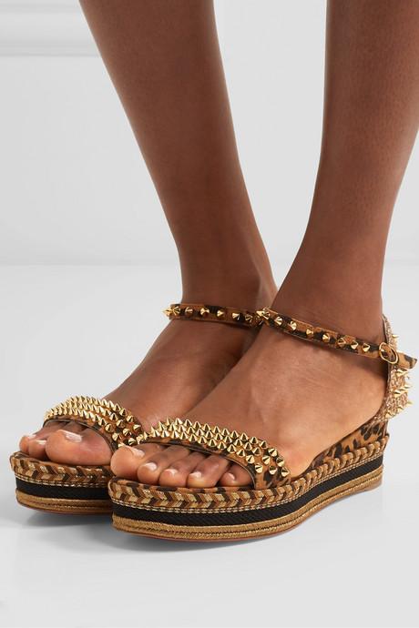 Madmonica 60 spiked leopard-print suede espadrille wedge sandals