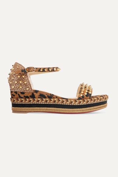 new concept 7099e cc9ba Madmonica 60 spiked leopard-print suede espadrille wedge sandals