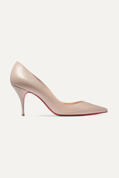 CHRISTIAN LOUBOUTIN | Christian Louboutin - Clare 80 Leather Pumps - Beige | Goxip