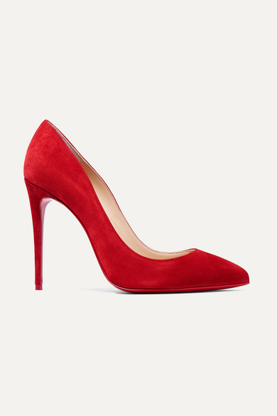 CHRISTIAN LOUBOUTIN | Christian Louboutin - Pigalle Follies 100 Suede Pumps - Red | Goxip