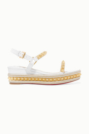 Christian Louboutin Pyraclou 60 studded lizard-effect leather wedge sandals