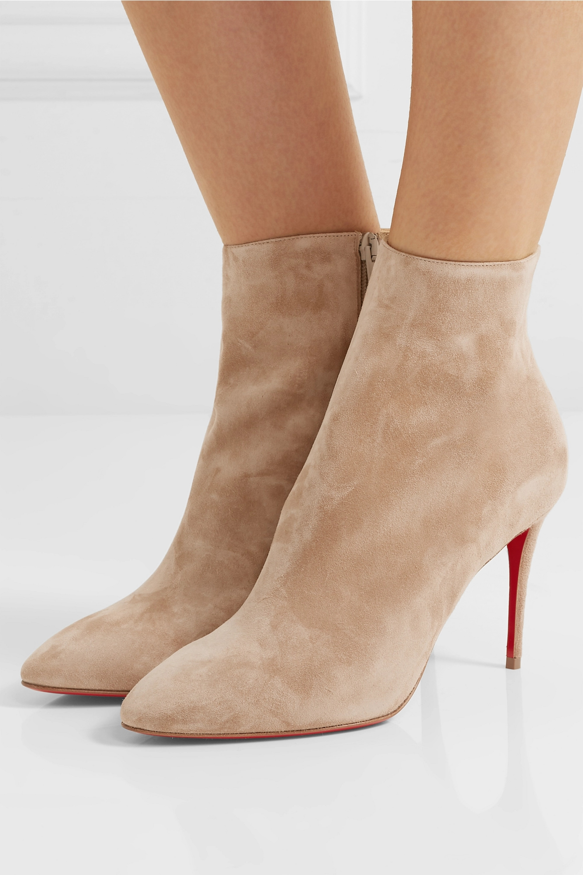 Beige Eloise 85 suede ankle boots