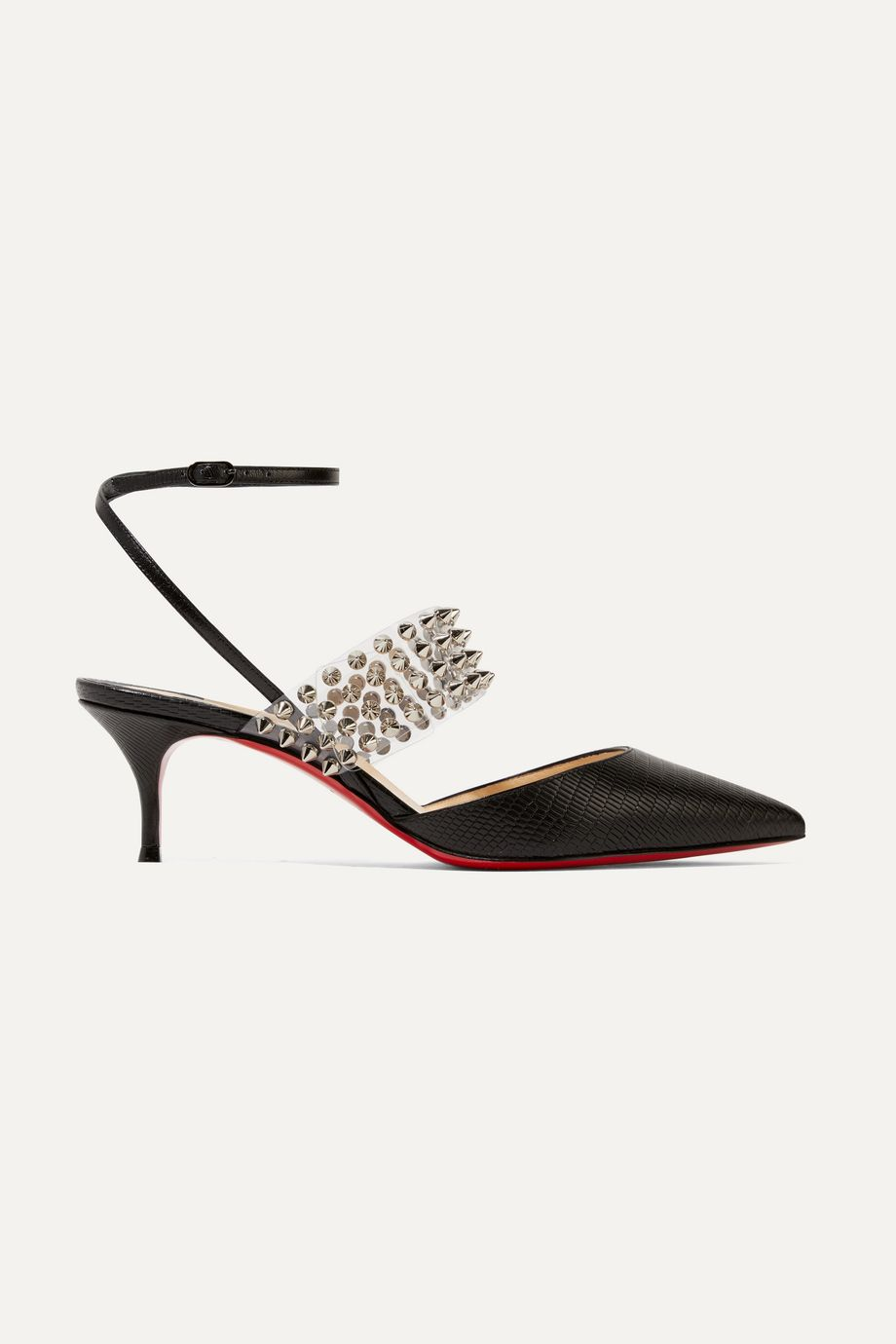 Christian Louboutin Levita 55 spiked PVC and lizard-effect leather pumps