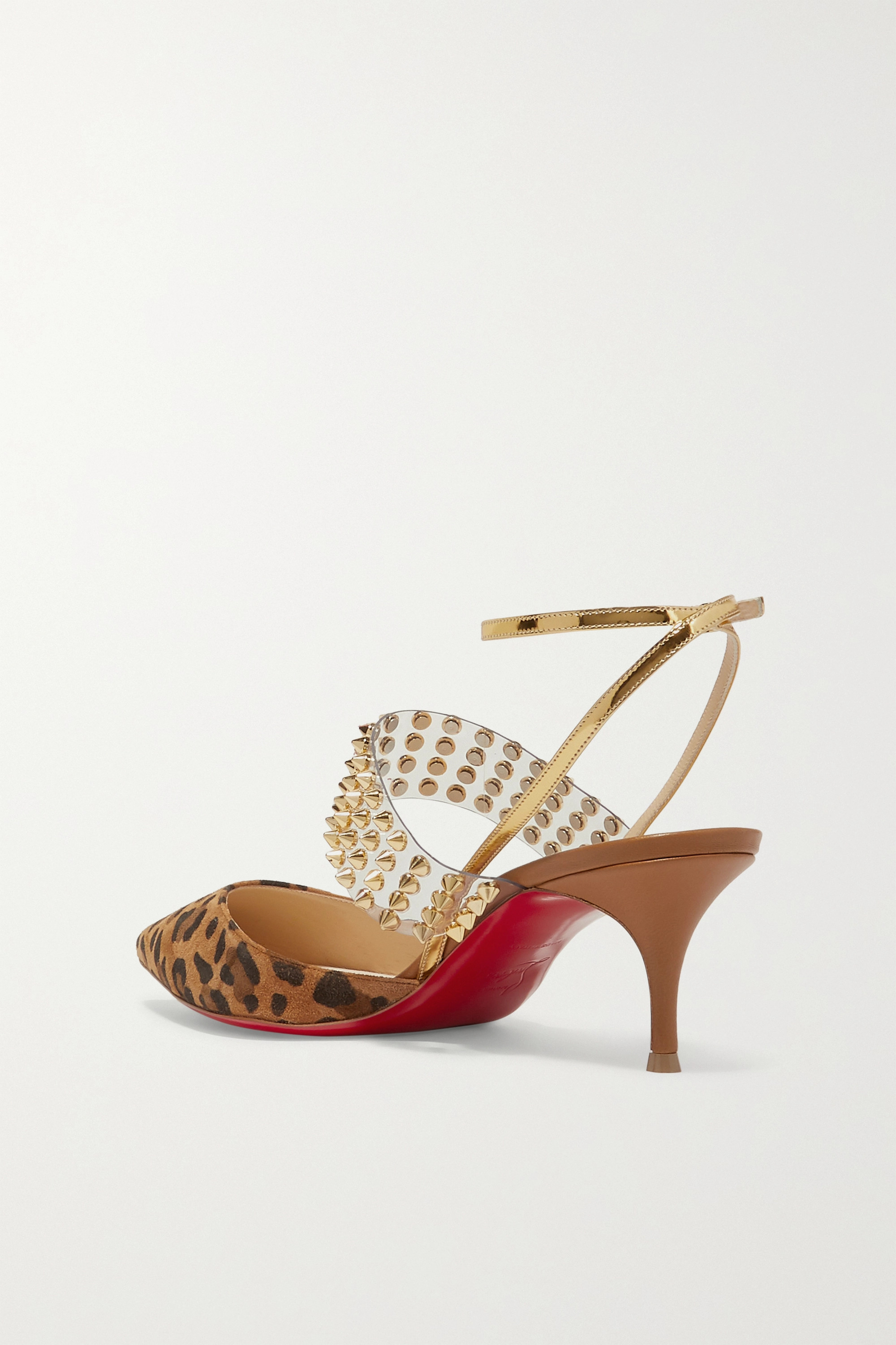 Christian Louboutin Levita 55 spiked PVC, mirrored-leather and leopard-print suede pumps