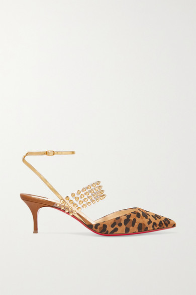CHRISTIAN LOUBOUTIN | Christian Louboutin - Levita 55 Spiked Pvc, Mirrored-Leather And Leopard-Print Suede Pumps - Leopard Print | Goxip