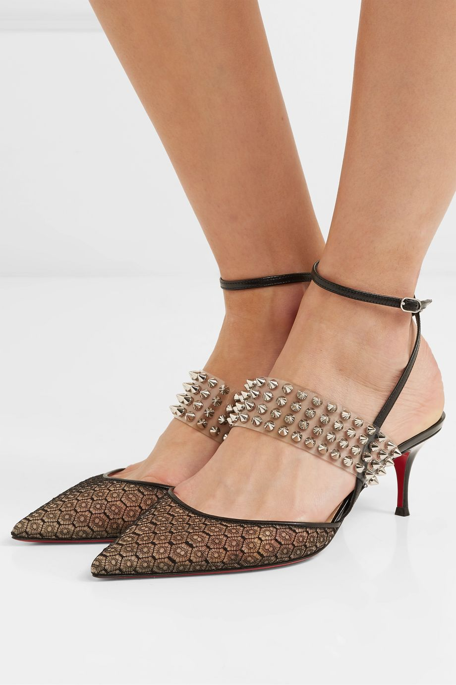 Christian Louboutin Levita Rete 55 spiked PVC, leather and lace pumps