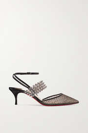 Levita Rete 55 spiked PVC, leather and lace pumps