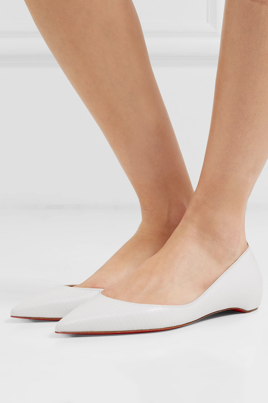Christian Louboutin Iriza lizard-effect leather point-toe flats