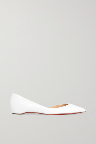 buy popular 3d49a e39fa Iriza Lizard-Effect Leather Point-Toe Flats in White
