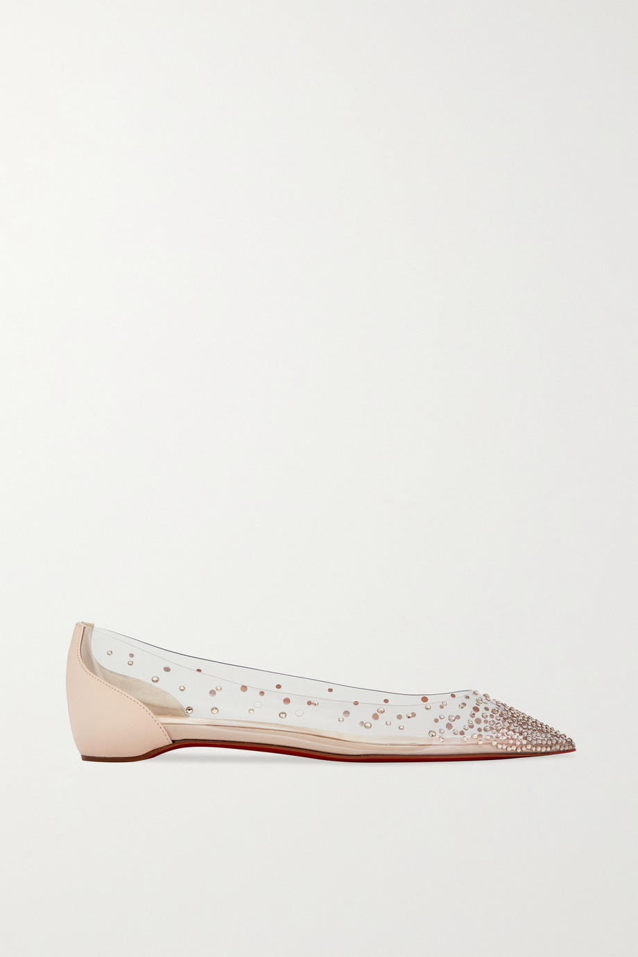 Christian Louboutin Degrastrass embellished PVC and leather point-toe flats