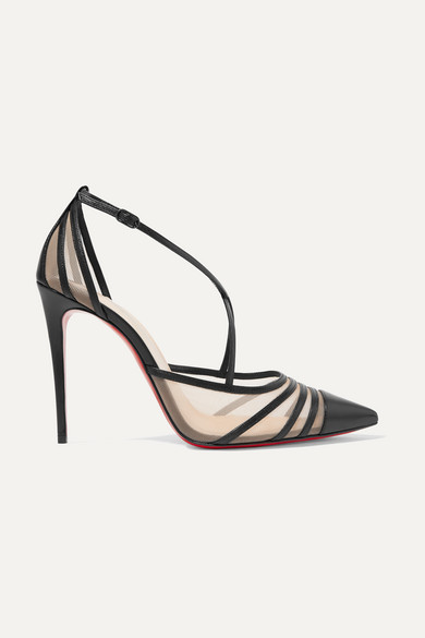 best service d25bc 310ef Theodorella 100 leather and mesh pumps