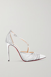 Theodorella metallic leather and mesh pumps