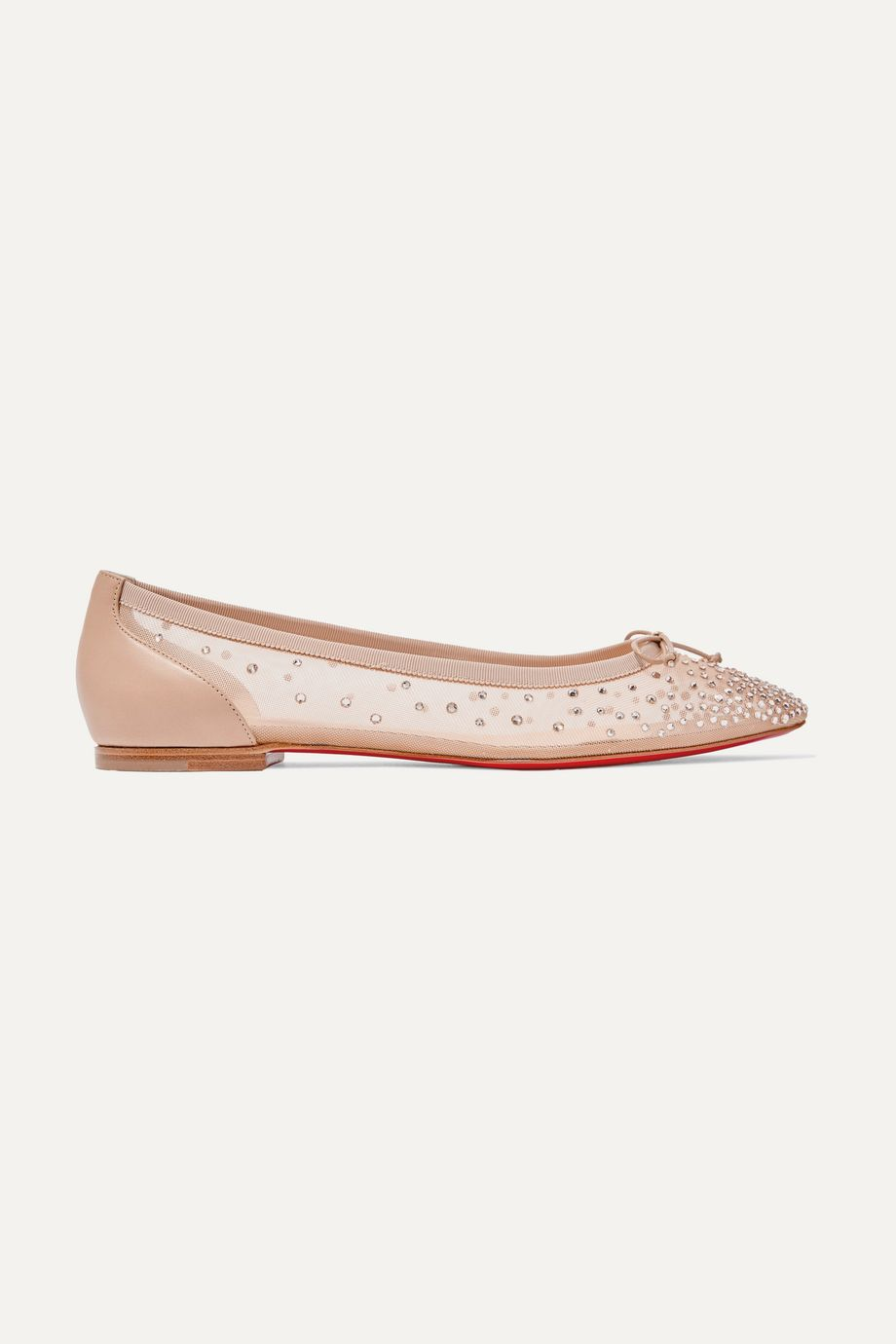 Christian Louboutin Patio crystal-embellished mesh and leather ballet flats