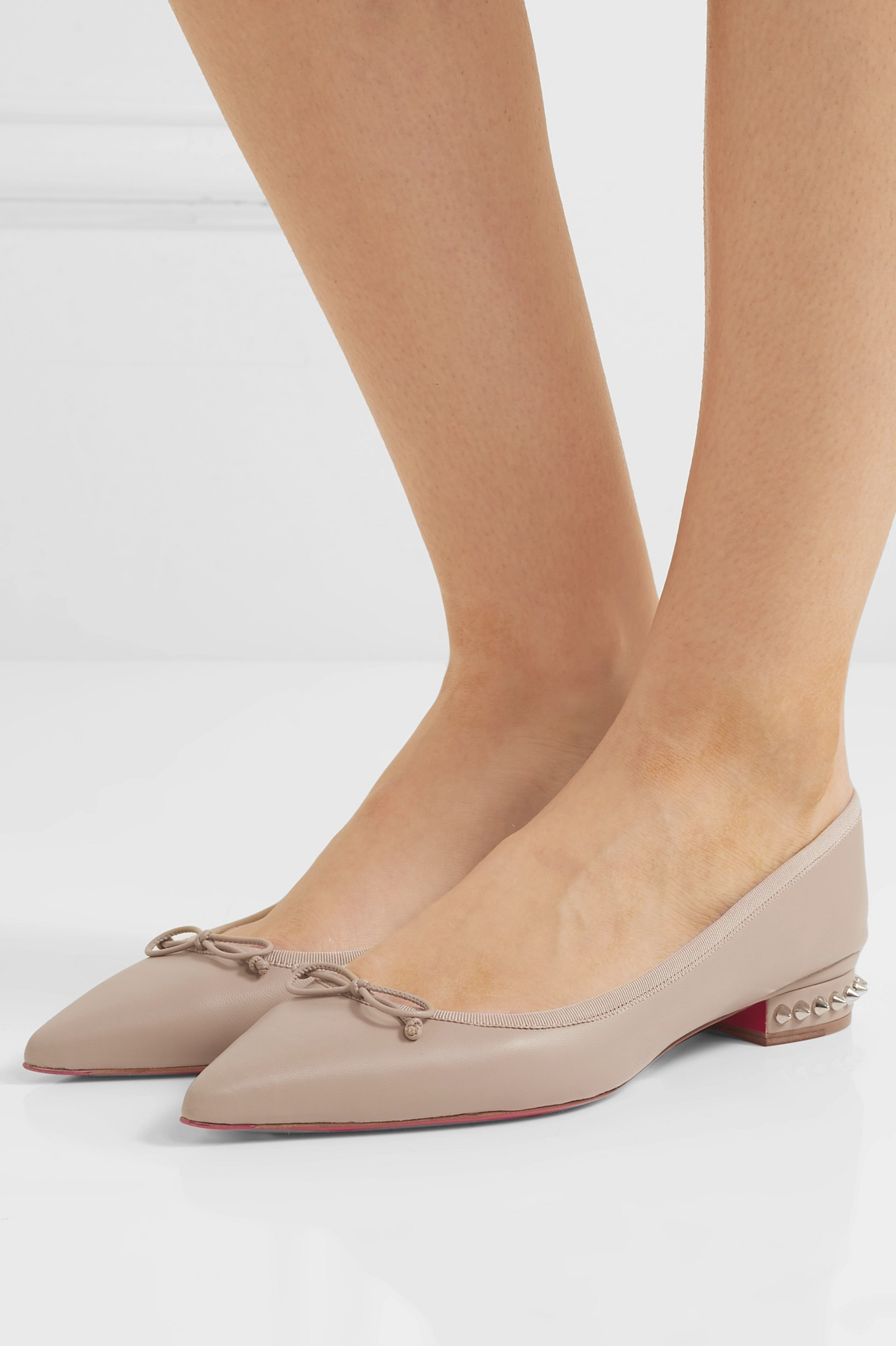 Hall spiked leather point-toe flats