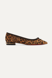 Christian Louboutin Hall spiked leopard-print suede point-toe flats