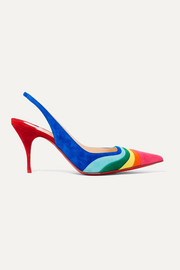 Christian Louboutin Degradama 80 paneled suede slingback pumps