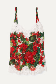 Lace-trimmed floral-print silk-blend georgette camisole