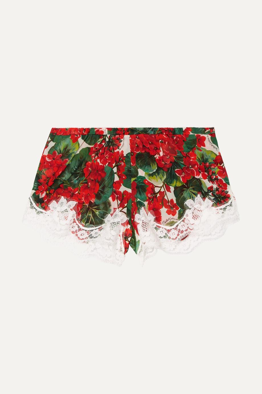 Dolce & Gabbana Shorts aus Georgette aus einer Seidenmischung mit Spitzenbesätzen und Blumenprint