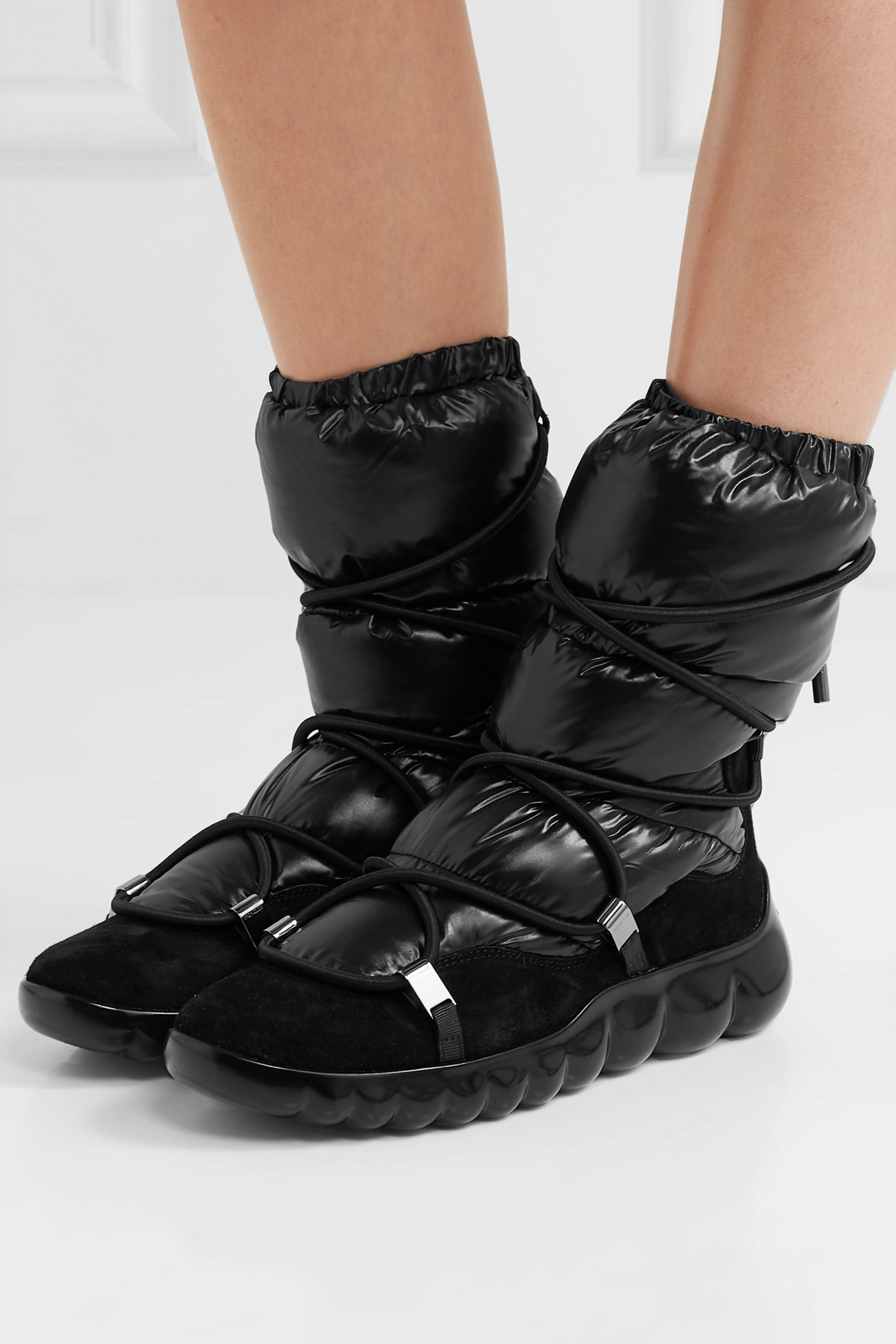 Moncler Cora suede-trimmed quilted shell ankle boots