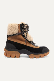 Moncler Harriet suede, shearling and leather ankle boots